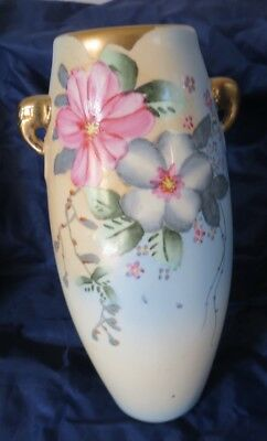 Beautiful Hand Painted Nippon Art Pottery Vase Antique Floral