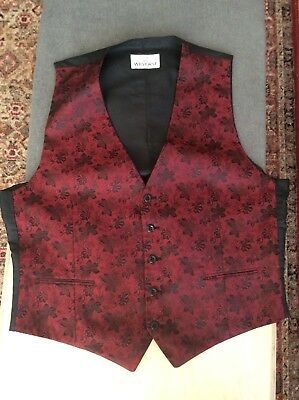 mens burgundy Waistcoat Size 44-46 Inch Chest
