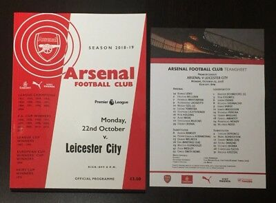 Arsenal v Leicester City Programme With Team Sheet 22nd October 2018