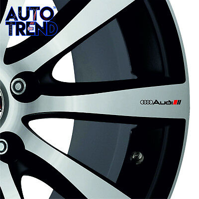 4 X AUDI LINES MIRROR WHEEL SMALL Decal Sticker Detail-Best Quality-Many Colours