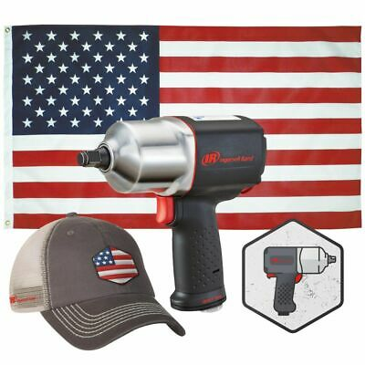 "Ingersoll Rand #2135USA: 2135QXPA 1/2"" Dr. Impact w/ Hat, Flag & Sticker!"