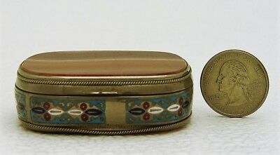 Hand Carved Stone Agate Stamp Box Silver Enamel Frame with Silver Roped Edging