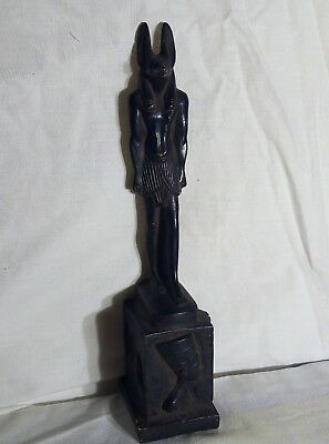 ANCIENT EGYPTIAN ANTIQUE STATUE Anubis God and Scarab and Queen Nefertiti Bc