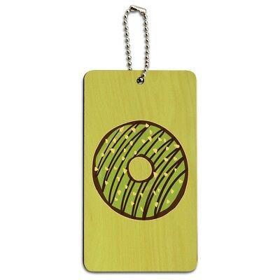 Mint Chocolate Chip Donut Yummy Green Wood Luggage Card Suitcase Carry-On ID Tag