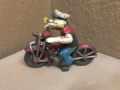Vintage Cast Iron Popeye On Patrol Motorcycle