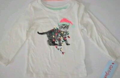 new girls size 18M cat & jack Christmas cat shirt long sleeve