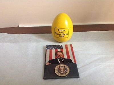 1988 REAGAN White House Easter Egg Roll OFFICIAL YELLOW Egg + 1980's REAGAN PIN