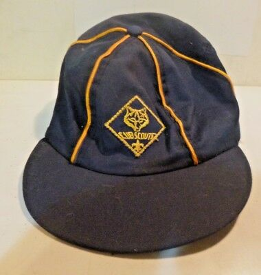 Vintage Cub Scout Hat ball Cap-Blue w gold stripping Genuine  1960s