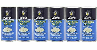 Morton Popcorn Salt  Super Fine 3.75 oz  6 containers shakers  NO IODINE