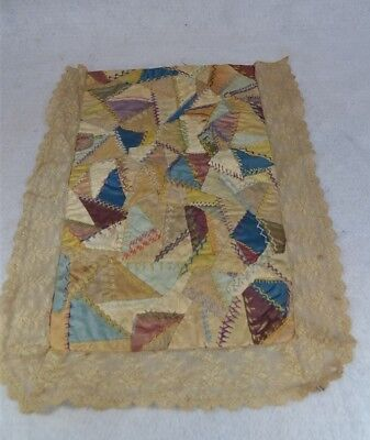 crazy quilt doll bed miniature silk lace 13 x 17 Victorian original 1890
