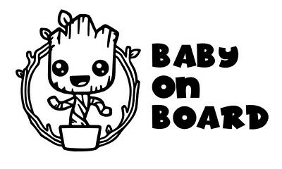 Groot in pot baby on board , Decal , sticker, laptop, wall, car