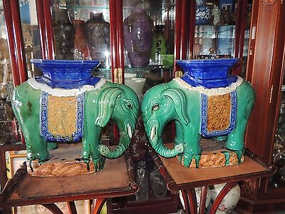 A Pair of Rare Antique Chinese Large Green Elephant Garden Seats
