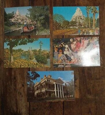 Lot Of 5 Vintage Antique 1960s Disneyland Postcards Unused Unstamped!