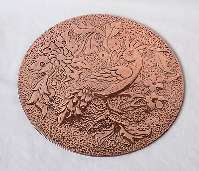 Vintage Arts & Crafts Copper Covered Wall Plaque.  Hammered & Repousse Work