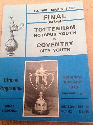 F.A. YOUTH CUP FINAL, SPURS V COVENTRY 1970,vgc.