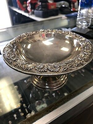Vintage S. Kirk & Son Repousse Floral Pattern 436F Compote Dish 190 Grams