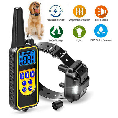 875Yard LCD Dog Electric Shock Training Collar Waterproof Rechargeable Remote US