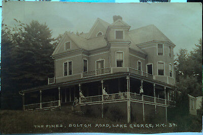 The Pines, LAKE GEORGE, NEW YORK Photo Post Card 1905-15 HOTEL, Folks on Porch