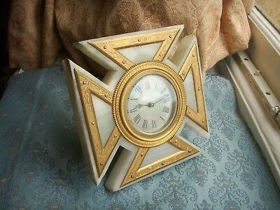 Old Antique French Ormolu Brass Marble Maltese Cross Mantle Desk Clock c. 1880
