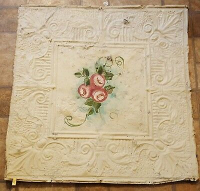 "Antique Vintage Salvage Tin Metal Hand Painted Ceiling Tile 24"" x 24"""