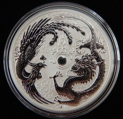 2017 Australian Dragon and Phoenix 1 oz .999 Silver limited mintage bullion coin