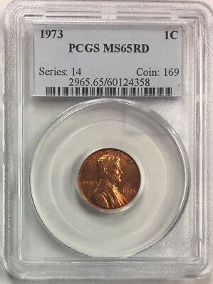 1973  ~ MS65RD ~ Lincoln Penny ~ PCGS Graded 1C ~ Cent
