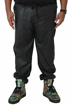 5942c28413a2fd Vibes Big Men Black Fleece Jogger Pants with PU Front Panel Rib Cuff & Waist