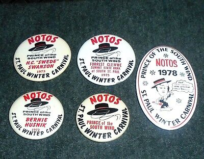 Lot of 5 Vintage St Paul Winter Carnival Pinback Buttons, Minnesota Amusement