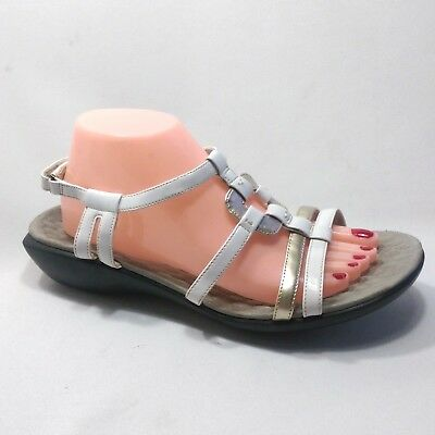 ec91b9bb7346 Privo by Clarks Womens 10US White Patent Leather Ankle Adjustable Strap  Sandals