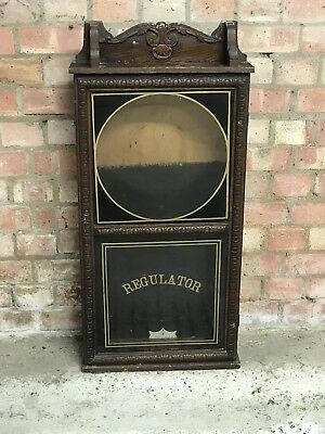 Antique Oak Regulator Clock Case Without The Clock