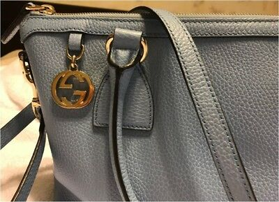 6aa71cb10b28 GUCCI MINERAL BLUE leather Medium GG CHARM convertible TOTE bag ...