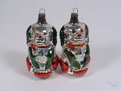TWO vintage mercury glass DOG Christmas ornaments, hand painted from GERMANY