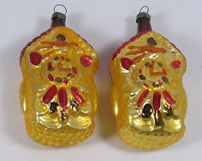 TWO vintage mercury glass CUCKOO CLOCK Christmas ornament, hand painted, Germany