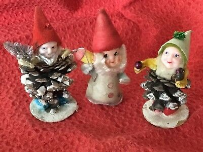 LOT 3 Vintage Mid Century Christmas PineCone Gnome Elves Ornaments Figurines