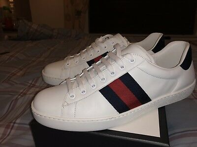 ced4f71b6e3 Mens Gucci White Ace leather low-top sneaker trainers 100% authentic size 9
