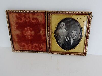 Quarter Plate Daguerrotype Man and Wife with Case