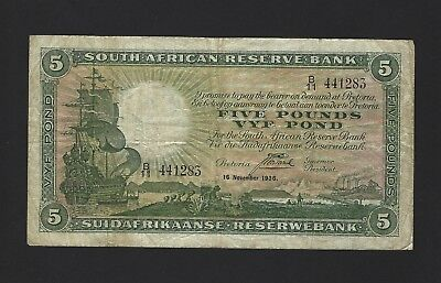 1936 South Africa 5 Pounds, P-86b Scarce, Early Date Postmus Sig, VF