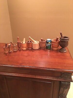 Lot of 10 Vintage/Antique Wood mortars And Pestles, Large, Small, Signed