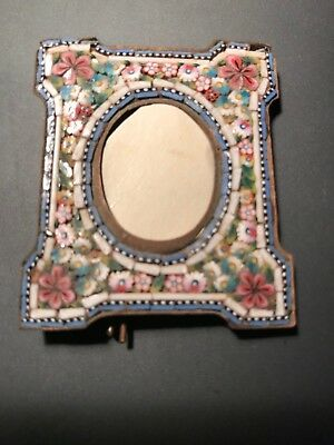 beautiful 19th C MICRO MOSAIC miniature FLORAL PHOTO FRAME   no res.