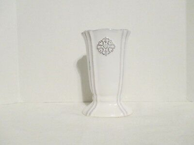 "4 1/4"" Southern Living at Home White & Gray Small Vase EUC"