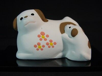 Akita Dog Mother & Puppy Japanese Pottery & Lacquered Stand Set