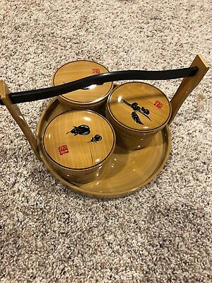 Vintage Japanese Serving Tray Condiment Dish Set Plastic - Never Used