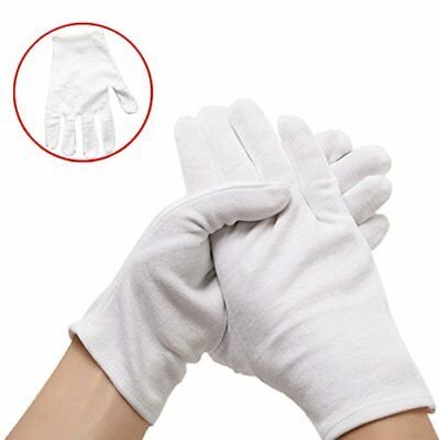 6 Pairs White Cotton Soft Thin Gloves Coin Jewelry Silver Inspection Cotton US