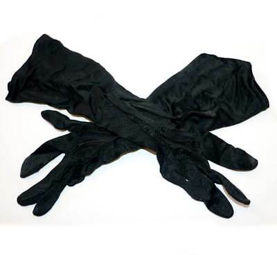Vintage black nylon stretch long ladies gloves