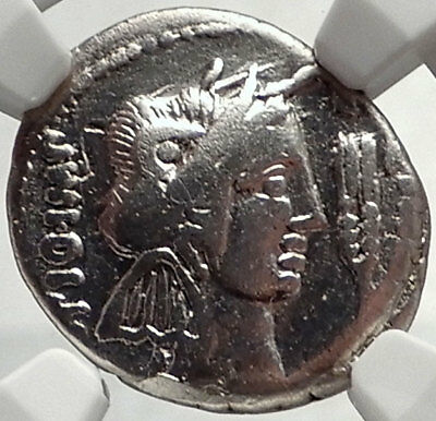 Metellus Scipio Enemy of Julius Caesar 47BC Ancient Silver Roman Coin NGC i68751