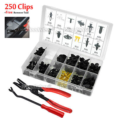 250 Clips+2 Tools Fits For Nissan Hood Door Fender Bumper Retainer Fasteners Kit