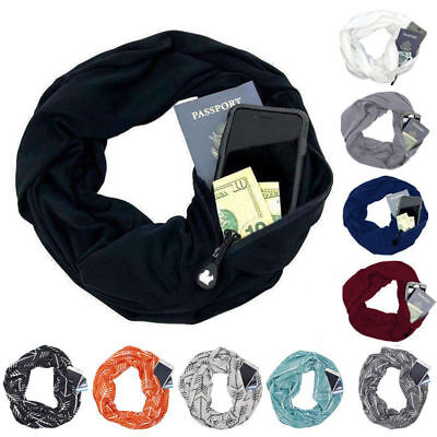 Convertible Infinity-Scarf With Pocket Loop Scarf Women Winter Zipper Pocket