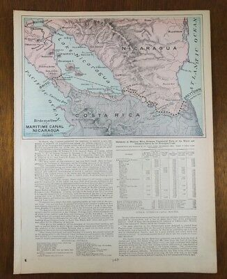 Vintage 1902 (dated) Map NICARAGUA CANAL Old Antique GREYTOWN BRITO MAPZ