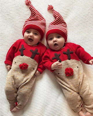 Christmas Boys Girls Jumpsuit Hat Set Red Outfits Cute Newborn Kid Baby Clothes
