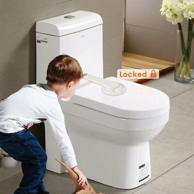 2X Adhesive Kids Children Baby Safety Latch Lock for Toilet Seat Toilet Lid Lock